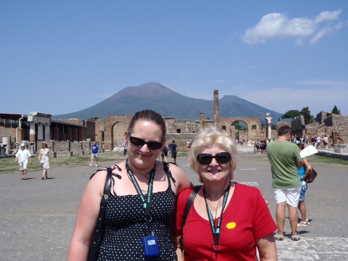 Mum and I in Pompeii with Mount Vesuvius in the background