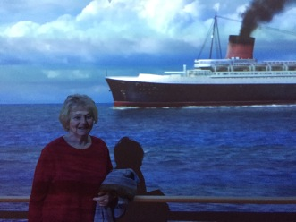 Mum, posing against a moving backdrop to give the illusion of being at sea